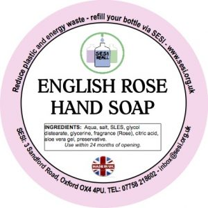 english rose hand soap label